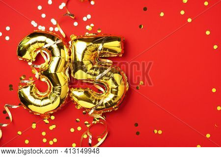 Gold Foil Balloon Number, Digit Thirty-five. Birthday Greeting Card With Inscription 35. Anniversary