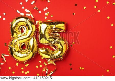 Gold Foil Balloon Number, Digit Eighty-five. Birthday Greeting Card With Inscription 85. Anniversary