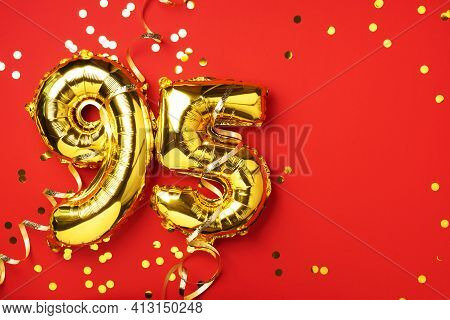 Gold Foil Balloon Number, Digit Ninety-five. Birthday Greeting Card With Inscription 95. Anniversary