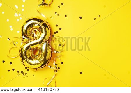 8 March. Happy Women's Day. Gold Foil Balloon Number And Digit Eight 8. Birthday Greeting Card. Anni
