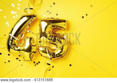 Gold Foil Balloon Number, Digit Forty-five. Birthday Greeting Card, Inscription 45. Anniversary Cele