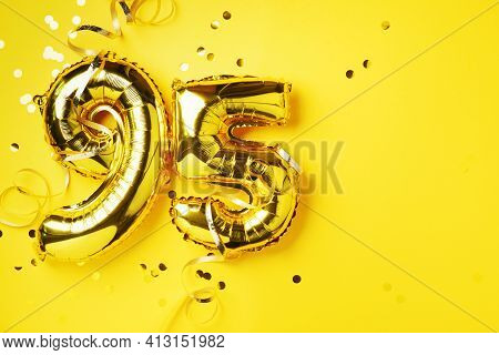 Gold Foil Balloon Number, Digit Ninety-five. Birthday Greeting Card, Inscription 95. Anniversary Cel