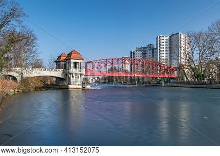 Berlin, Germany - February 23, 2021: Heritage-protected Steel Truss Haven Bridge ( Sechserbruecke) O