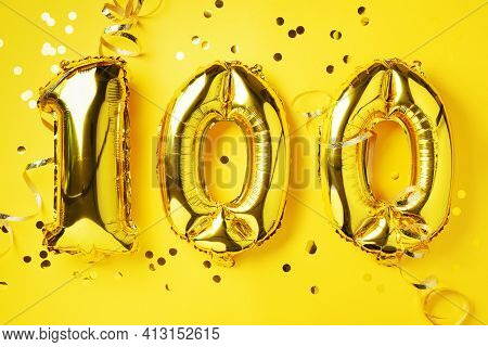 Gold Foil Balloon Number, Digit One Hundred. Birthday Greeting Card, Inscription 100. Anniversary Ce