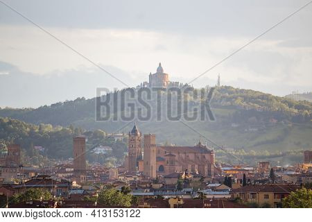 Aerial Panoramic View Of Old Bologna City. It Is Saw Asinelli Tower Or Torre, San Petronio Church Or