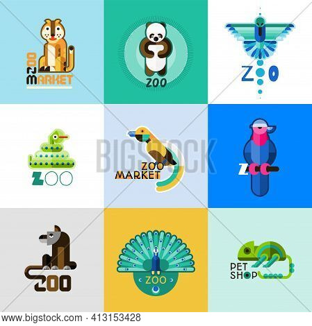 Zoo Market Pet Shop Logo Set With Wild Animals And Cute Birds Isolated Vector Illustration