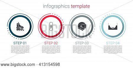Set Roller Skate, Climber Rope, Helmet And Skate Park. Business Infographic Template. Vector