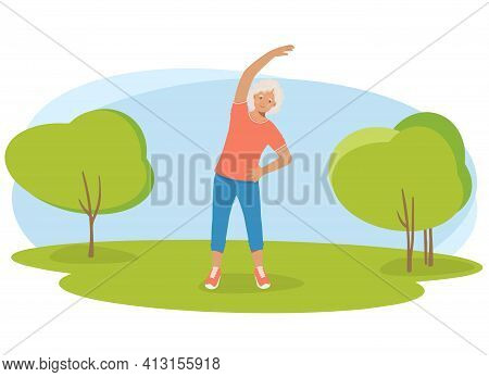 Elderly Woman In Sports Clothes Does Exercises In The Park. Retired Grandmother, A Pension And A Hea