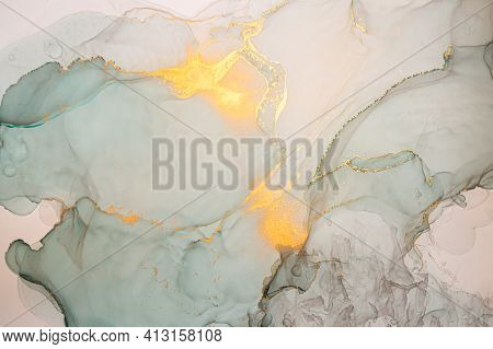 Golden Abstract Liquid. Alcohol Inks On Canvas. Luxury Wave Illustration. Ink Acrylic Texture. Abstr