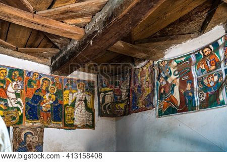 Yeha, Ethiopia - Feb 10, 2020: The Interior Of The Great Temple Of The Moon, Privy To Walia Ibex In