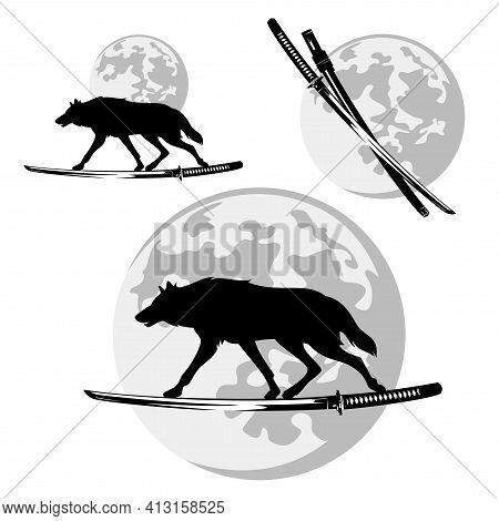 Shadow Wolf Running On Samurai Katana Sword Blade Against Full Moon Disk - Bushido Vector Design Set