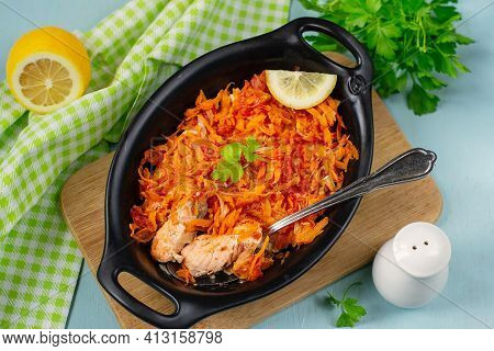 Oven Baked Salmon Gratin With Grated Carrots And Onions