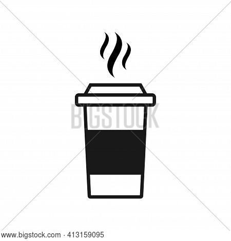 Coffee Cup Icon. Vector Illustration Isolated On A White Background. Plastic Coffee Cup