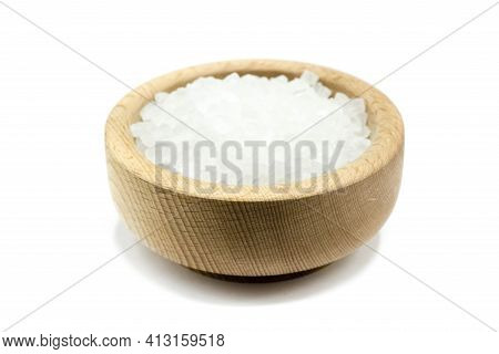 Coarse Salt In Wooden Bowl Isolated On White Background