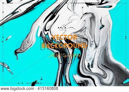 Fluid Art Texture. Abstract Background With Iridescent Paint Effect. Liquid Acrylic Picture With Flo
