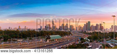 Tel Aviv Skyline At Sunset,  Tel Aviv Cityscape Large Panorama At Sunset Time, Israel