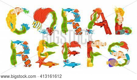 Creative Coral Reefs Lettering. Editle Vector Illustration