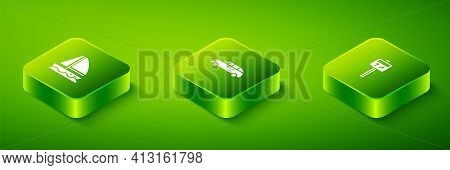 Set Isometric Hatchback Car, Road Traffic Signpost And Yacht Sailboat Icon. Vector