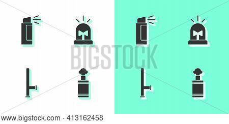 Set Hand Grenade, Pepper Spray, Police Rubber Baton And Flasher Siren Icon. Vector