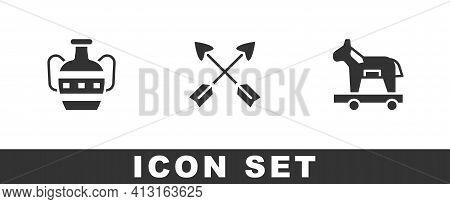 Set Ancient Amphorae, Crossed Arrows And Trojan Horse Icon. Vector