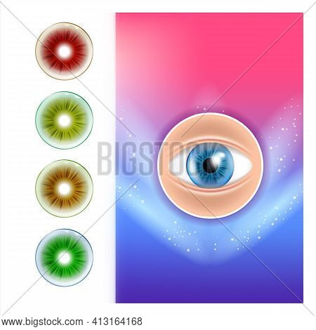 Colored Contact Lenses Advertising Poster Vector Illustration