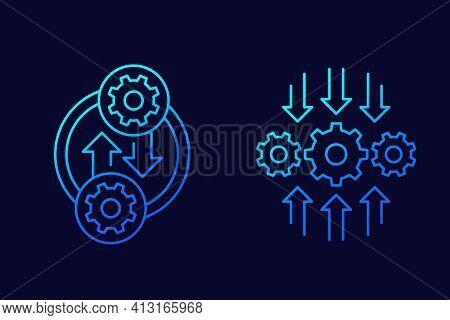 Integration Or Optimization Line Icons, Vector Art