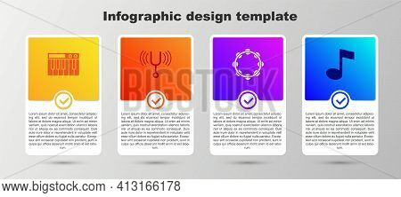 Set Music Synthesizer, Musical Tuning Fork, Tambourine And Note, Tone. Business Infographic Template