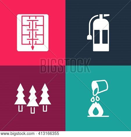 Set Pop Art Bucket Extinguishing Fire, Forest, Fire Extinguisher And Evacuation Plan Icon. Vector