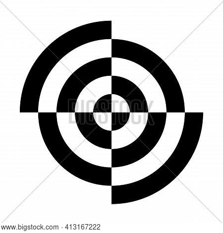 Abstract Target Sign. Black And White Geometric Circular Lines. Accuracy Concept. Vector Illustratio