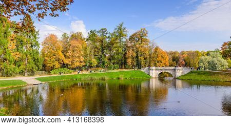 Gatchina, Saint Petersburg, Russia - October 3, 2020: Sightseeing Of Saint Petersburg. Picturesque P