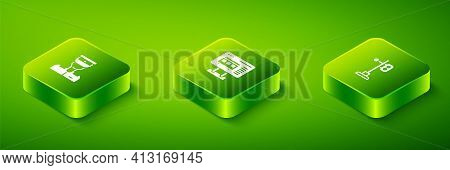 Set Isometric Ticket Office To Buy Tickets, Train Traffic Light And Conductor Icon. Vector