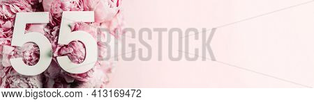 Peony Flowers, Digit Ninety-five. Birthday Greeting Card With Inscription 55. Anniversary Concept. T