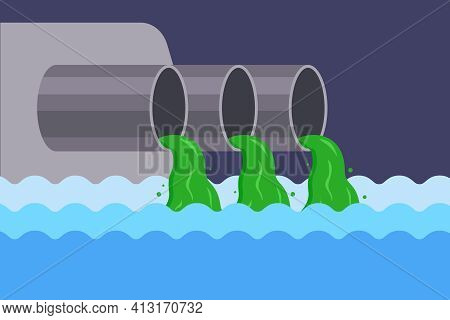 Pollution Of The River With Sewage From The Factory. Throw Rubbish Into The Water. Contamination Of