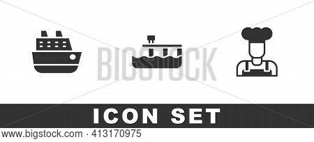 Set Cruise Ship, Beach Pier Dock And Cook Icon. Vector