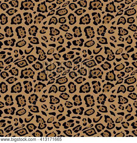 Seamless Pattern Of Jaguar Skin. Background Design, Textile Decoration, Animalistic Print.