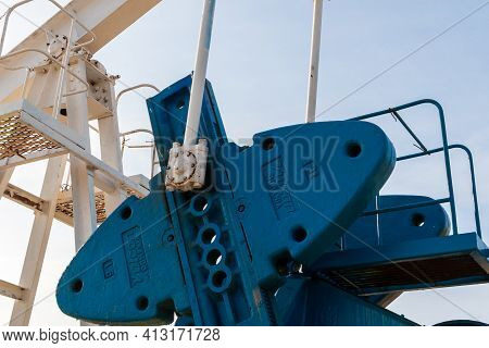 Surgut, Russia, 10.08.2019. The Oil Pump Of The Company Is In Operation - Vulcan, Romania. Detail Of