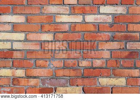 The Texture Of Unprofessional Brickwork. The Texture Of Inept Brickwork. The Texture Of Red Brick Ma