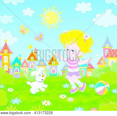 Happy Little Girl Jumping Rope With Her Cute And Merry Pup In A Green Summer Park Of A Small Town, V