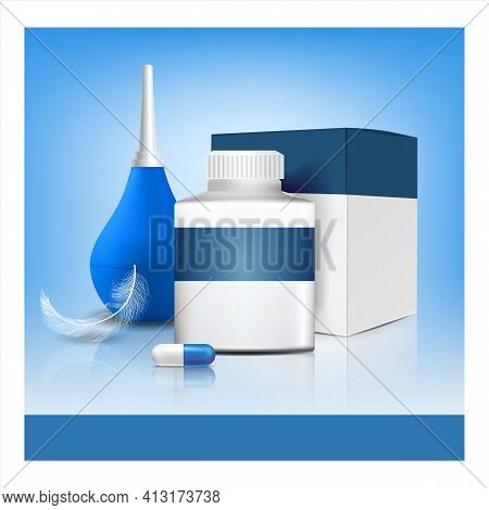 Hemorrhoids Pills And Tool Advertising Poster Vector