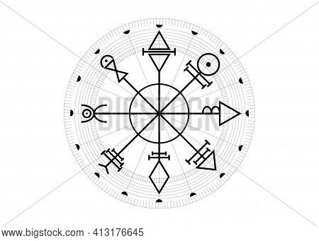 Vegvisir compass mystical Characters of Venus amulet. First Pentacle of Venus, seals magical talisman. Sacred geometry. Tattoo art, logo, prints. Stock vector illustration isolated white background