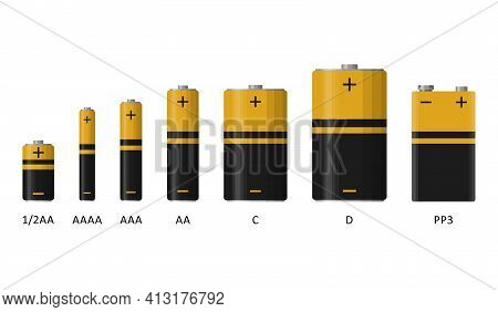 Alkaline Battery Set With Different Sizes Isolated On White Background. Rechargeable Batteries Flat