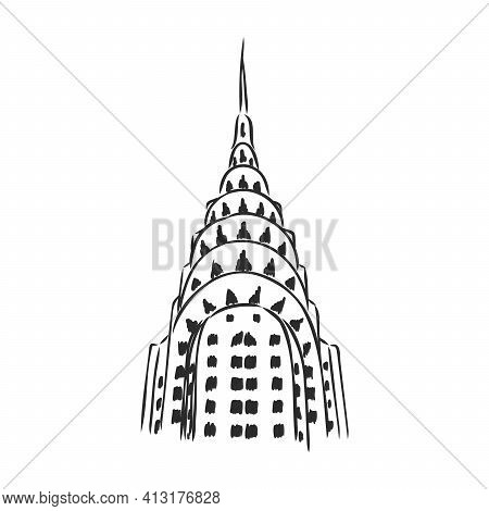 Chrysler Building, New York, Usa: Chrysler Building And Skyscrapers, Hand Drawn Sketch, Vector.