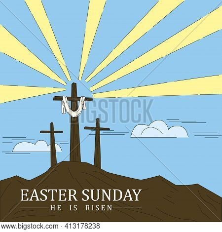Christian Cross On The Religious Holiday Easter. Text Easter Sunday, Celebrate The Resurrection. Ske