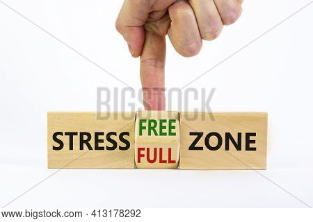 Stress Free Zone Symbol. Doctor Turns A Cube And Changes Words 'stress Full Zone' To 'stress Free Zo