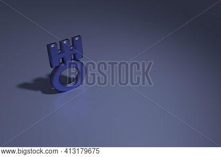 Astrology Symbol. 3d Rendering. Astrological Symbol Of The Planet Uranus. Blue Shining Symbol Of Ura