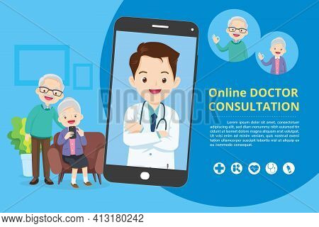 Elderly With Modern Medicine And Healthcare System Support.smartphone With Doctor On Call Holding Me