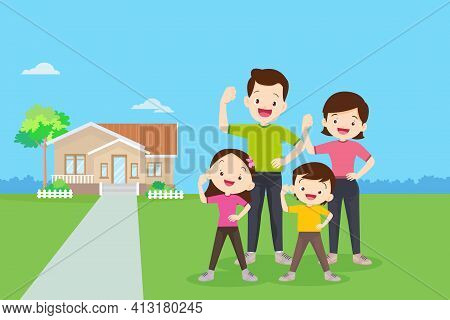 Family Exercise Together With Them House Background.strong Family Surrounded By Immunity.healthy Fam