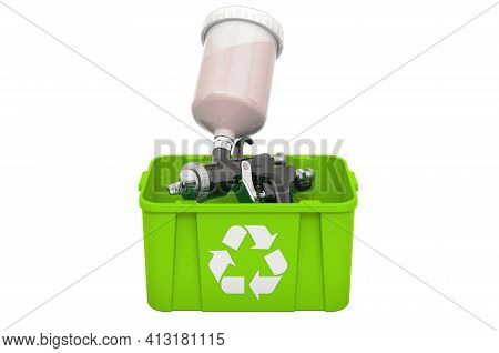 Recycling Trashcan With Painting Spray Gun, 3d Rendering Isolated On White Background