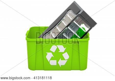 Recycling Trashcan With Refrigerated Vitrine Showcase, 3d Rendering Isolated On White Background