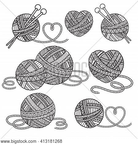 Coloring Book For Adults. Ball Of Wool For Knitting In The Style Of A Mandala. Black Contour Image O